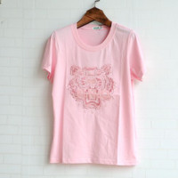 KENZO Tiger Head Embroidery Cotton Short Sleeved T-shirt Pink