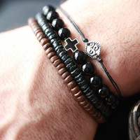 Mens Black Onyx Beaded Bracelet with Silver and black Cross Accent  - Mens Bracelets - Beaded men Bracelet