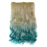 Wigs Beige Gradient Blue Curly Hair Clip [4923176900]