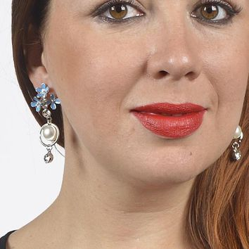 Faux Pearl Crystal Floral Drop Earrings
