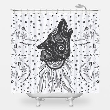 Ornamental Wolf Shower Curtain