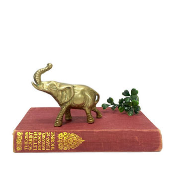 Brass Elephant Figurine Statue Trunk Up Vintage Animal Collectible Home Office Accent Piece Symbol of Luck Feng Shui Baby Nursery Room Decor