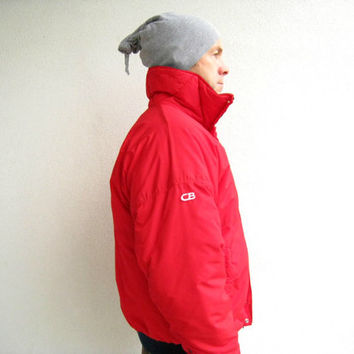 Men's Ski Jacket / CB / Navy Blue Red / Vintage / Snow / Winter / Womens / L / 1985 / Excellent Condition / by ohzie