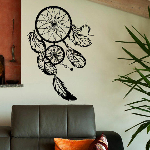 Dorm Room Wall Decor Etsy : Dream catcher wall decal dreamcatcher from fabwalldecals