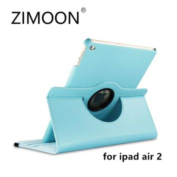Zimoon Case For Apple iPad Air 2 Magnetic Auto Wake Up Sleep Flip Litchi Leather Cover With Smart Stand Holder For iPad 6