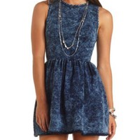 Acid Wash Denim Skater Dress by Charlotte Russe - Med Acid Wash