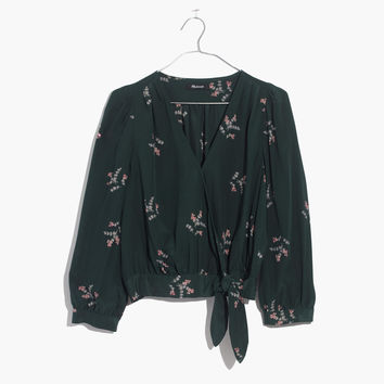 Silk Wrap Top in Wild Botanic : shopmadewell tops & blouses | Madewell