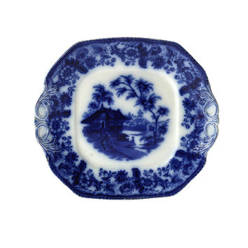1890s Serving Platter, English Flow Blue by F Winkle & Co