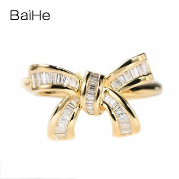 BAIHE Solid 14K Yellow Gold(AU585) About 0.30ct F-G/SI Square cut 100% Genuine Natural Diamonds Engagement Trendy Gift Ring