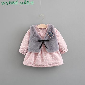 Winter Baby Girls Long Sleeve O Neck Floral Print Thick Cotton Princess Party Kids Tutu Dress + Fleece Vest vestido infantil