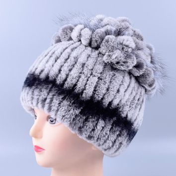 Winter hat for Women Rex Rabbit Fur Hat Real Rabbit+Fox Fur Beanies Elastic Warm Fashion Ladies Princess hat LQ11098