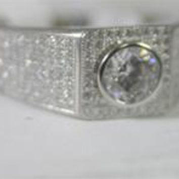 1 CT.(6.5mm) Center Simulated Diamond - Diamond Veneer Micro-Pave Sterling Silver Men Ring 635R1011