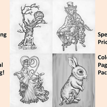 Adult Coloring Page, Coloring pages, Instant download coloring, Alice in Wonderland, download coloring pages, coloring for adults, Printable