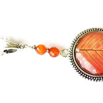 Leaf Necklace, Orange Necklace, Gemstone Necklace, Silver Rhodium Long Necklace, Fall Necklace, Beaded Necklace, Carnelian Necklace