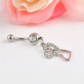 PEAPGB2 High quality Double Hearts Rhinestone Crystal Medical Steel Belly Button Ring Dangle Navel Body Jewelry Piercings Free shipping