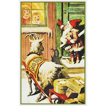 Elf Gnome Goat Sled Delivering Presents Kids in Window Jenny Nystrom  Holiday Christmas Counted Cross Stitch Pattern