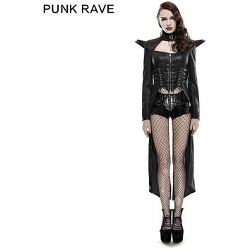 PUNK RAVE PUNK STYLE DOMINEERING QUEEN LONG RIDER BLACK SEXY LEATHER COAT Y-670
