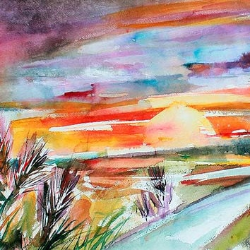 Tuscan Sunset Autumn in Tuscany Original Watercolor