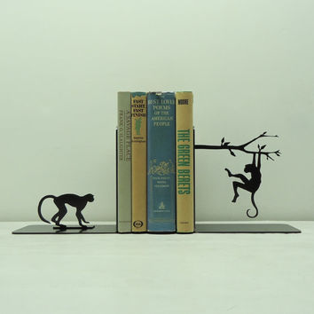 Monkey Metal Art Bookends  Free USA Shipping by KnobCreekMetalArts