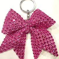 1 Hot Pink Rhinestone Bling Keychain Holders Bow Ribbon Cheer Dance
