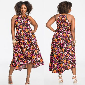 Plus Size Floral Halter Dress