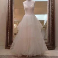 Elegant Tiered Wedding Dress with Double Spaghetti Straps Custom Size 0 2 4 6 8
