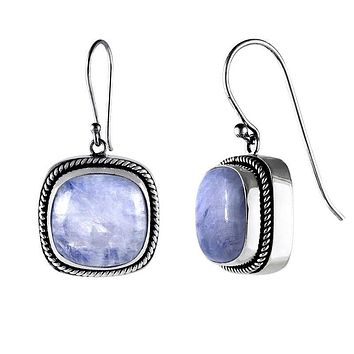 SE-2233-RMS Sterling Silver Earring With Rainbow Moonstone