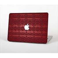 The Dark Red Highlighted Lace Pattern Skin Set for the Apple MacBook Air 13""