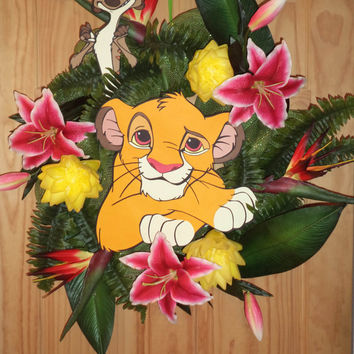Simba the Lion King Jungle wreath now with Timon and more flowers... same price.