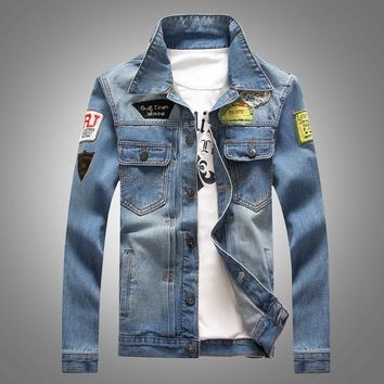 2018 Men Denim Jacket Casual Slim Jean Jacket Coat Outdoors Fashion Autumn Long Sleeve Jacket Masculino Outwear Patchwork M-4XL