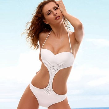 Sexy Halter Trikini White Swim Suit Female Trikinis One-piece Swimsuit 2016 Swimwear Women Push Up Brazilian High Cut Swimwear