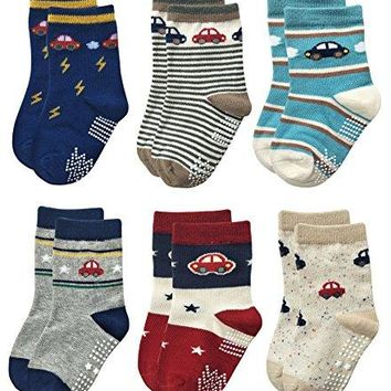 Deluxe Non Skid Anti Slip Slipper Cotton Crew Socks With Grips For Baby Toddlers Kids Boys (18-36 Months, 6 designs/RB-712)
