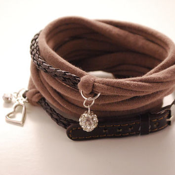Brown Leather and Taupe Stretch Wrap Bracelet Fashion accessory Women Teens Wrist Tattoo Cover