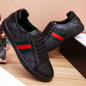 GUCCI New fashion men red and green single shoes Black