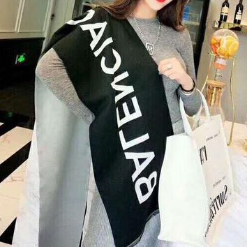 BALENCIAGA Classic Fashionable Women Men Simple Cashmere Cape Scarf Scarves Shawl Accessories Black