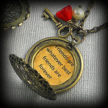 Quotes Lockets, Friendship Dual Locket Bridesmaids Lockets, Message Lockets, Vintage Inspired