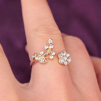 DCCKR2 New Jewelry Stylish Shiny Diamonds Leaf Floral Ring I