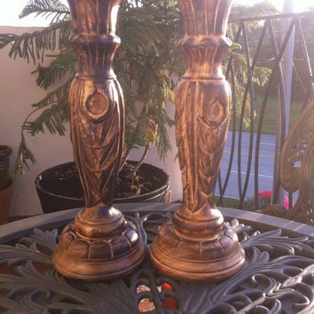 Vintage wood carved Rustic pillar Candle Holders