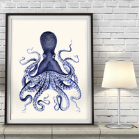 Octopus Print Blue 3, octopus illustration Nautical Print Art Illustration Drawing Poster Digital Print Wall Art Wall Décor Wall Hanging