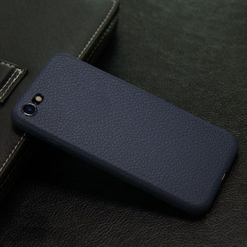 Luxury Soft Navy Blue Leather Phone Case For iPhone 7 7Plus 6 6s Plus 5 5s SE