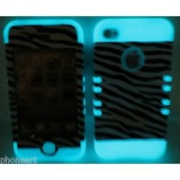 iPhone 4 4S Glow In the Dark Black & White Zebra Shock Resistant Case Cover Snap