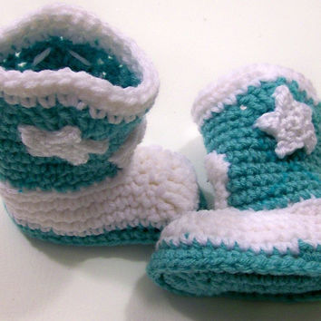 Baby Cowboy Boots--Turquoise and White-Crochet-Baby Shower gift--#141--3/6M