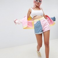 Hello Kitty x ASOS DESIGN color block denim shorts with embroidery detail at asos.com
