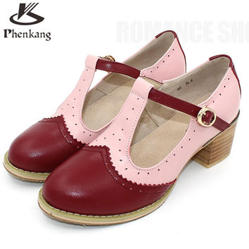 women summer leather oxford sandals big woman US 9 oxford shoes round toe handmade pink white black 2017 oxfords shoes for women