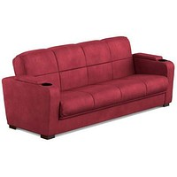 Convertible Futon Sofa Sleeper Couch Bed w Cup Holders Storage Arms