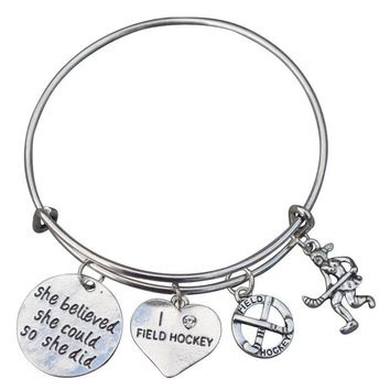 Field Hockey She Believed She Could So She Did Bangle Bracelet