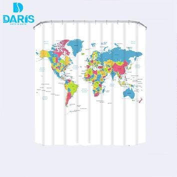 Creative Fabric Shower Curtain World Map Bathroom Waterproof Not Transparent Classic Designer Model Bath Shower Curtain White