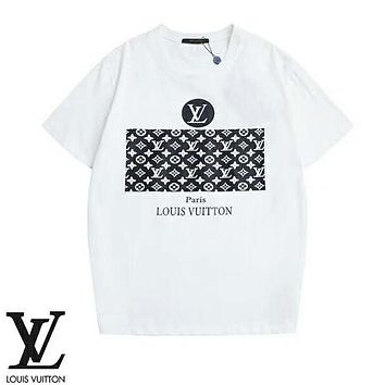 LV Louis Vuitton Summer New Fashion Monogram Print T-Shirt Couple Top White