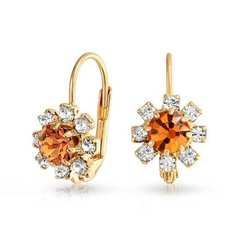 Orange and Crystal Flower 18k Gold Plated Leverback Drop Earrings