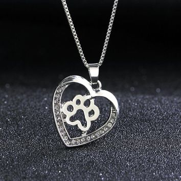 Rhinestone Pet Paw Footprint Necklaces Cute Animal Dog Cat Memorial Love Heart Pendant Necklace For Women Girls Jewelry Necklace